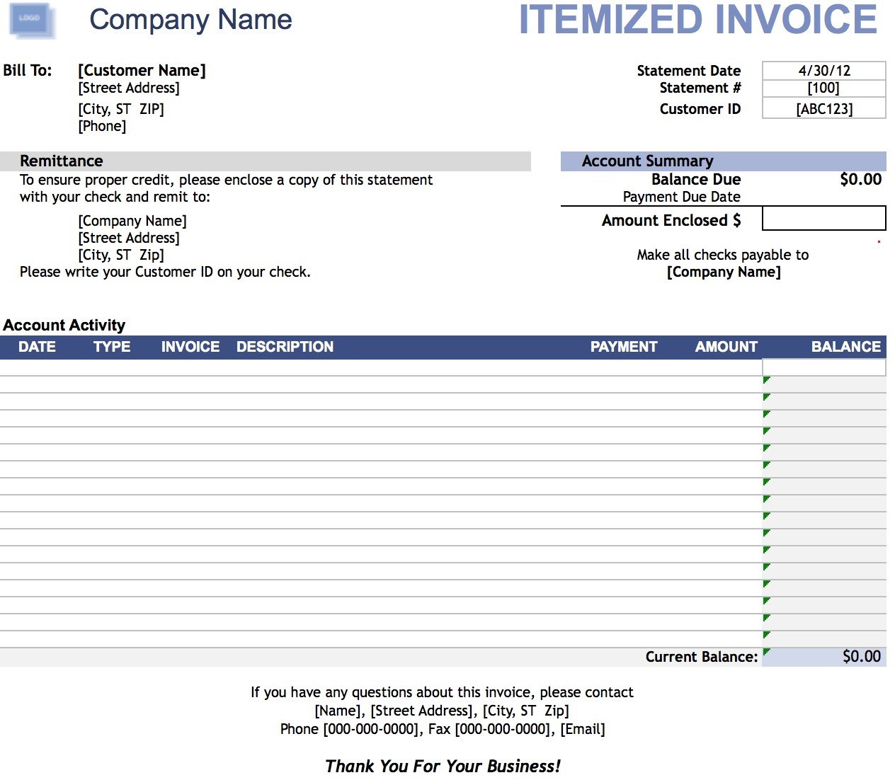 Itemized Invoice Template Invoice Example