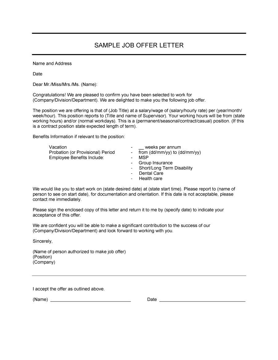 Job Offer Template Letter Free Letter Templates For Word