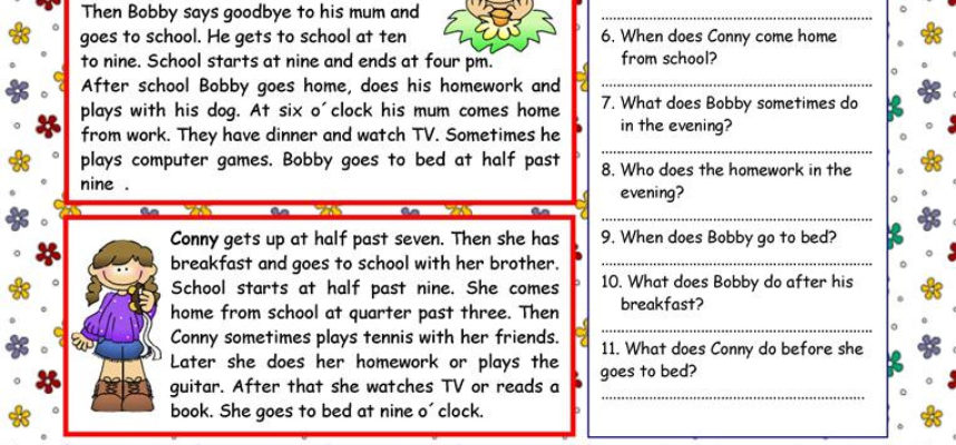 Kids and their Daily Routines Key English Esl Worksheets