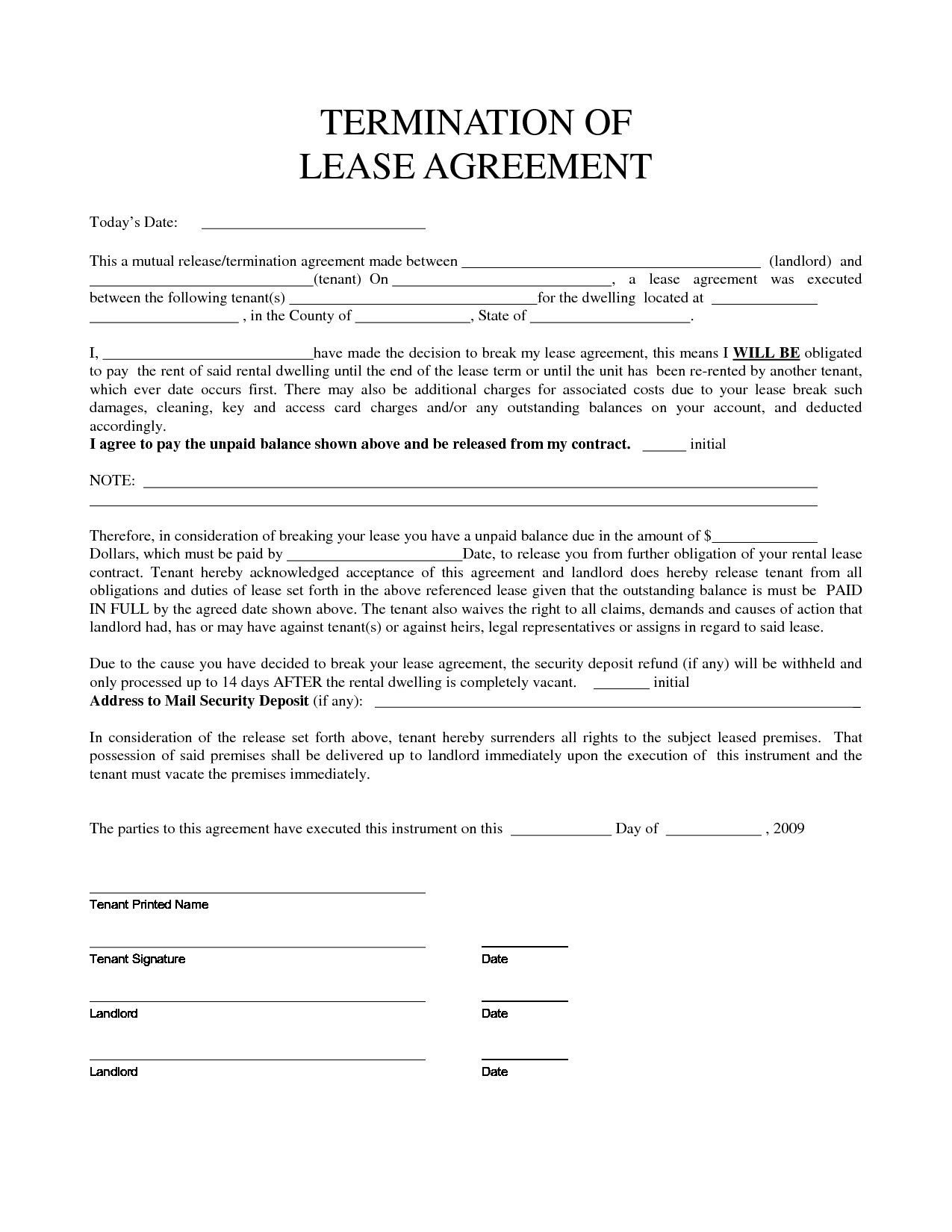 Lease Agreement Cancellation Letter Sample