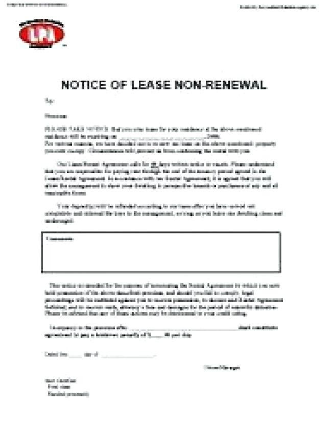 Lease Renewal Letter Not Renewing Extension Format
