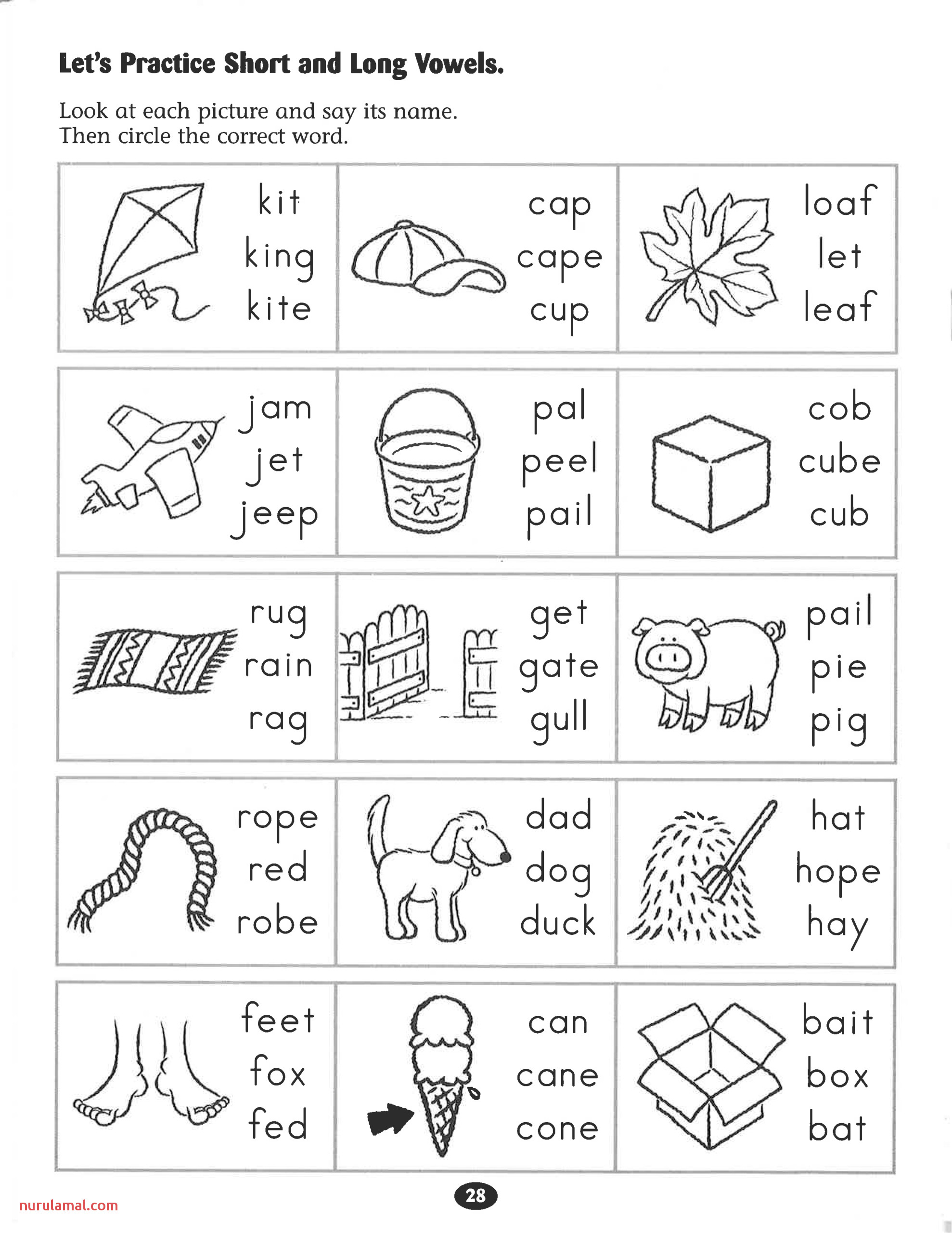 Lets Practice Short and Long Vowels Worksheet Phonics