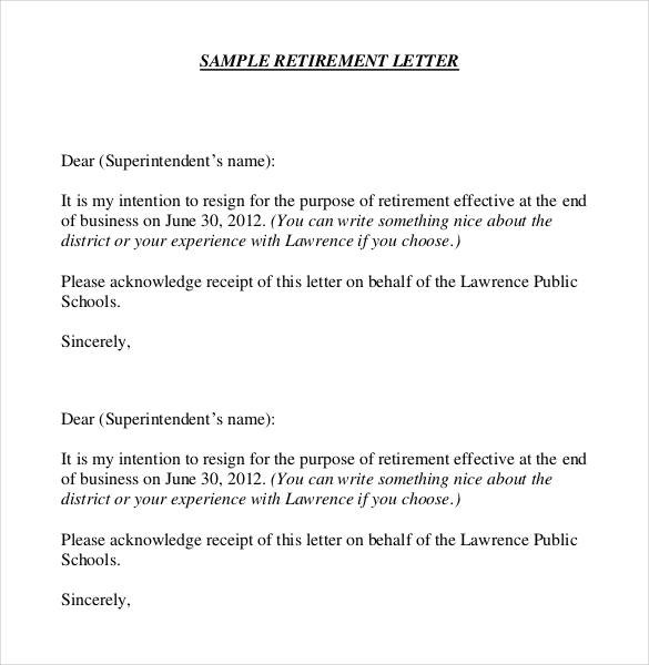 Letters Of Intent To Retire