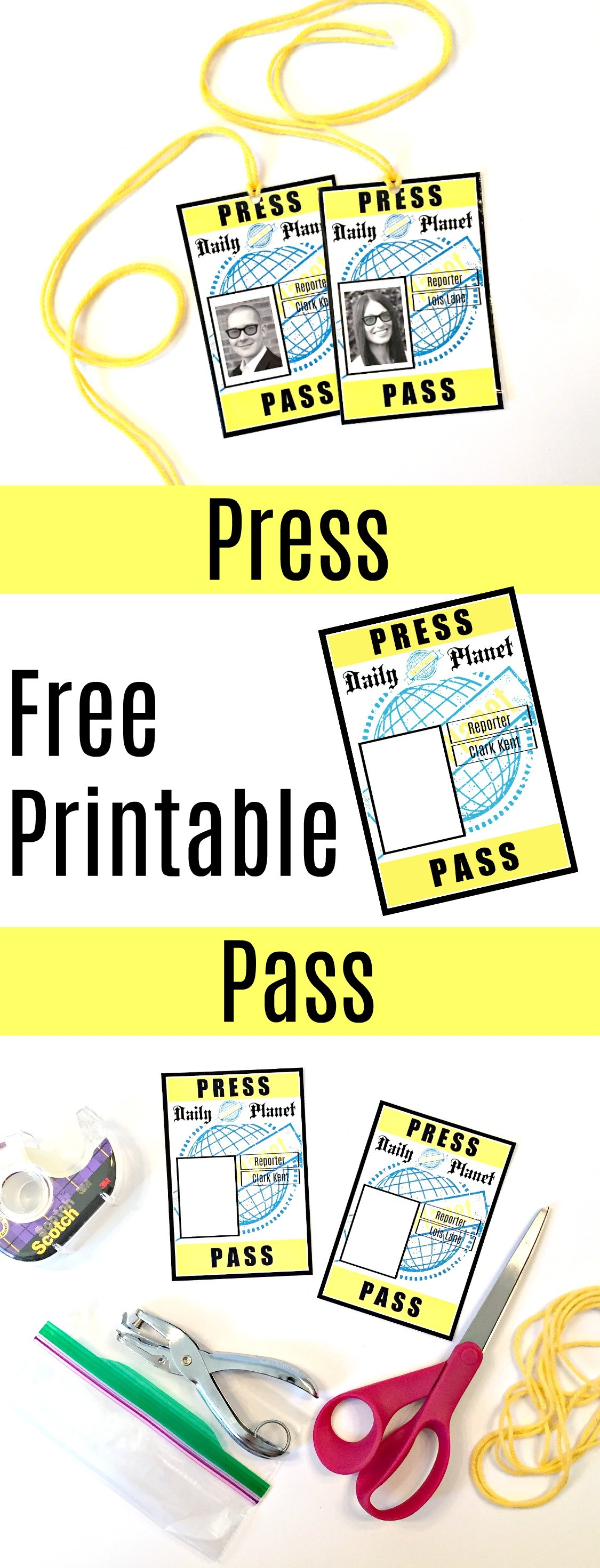 Lois Lane Press Pass Template