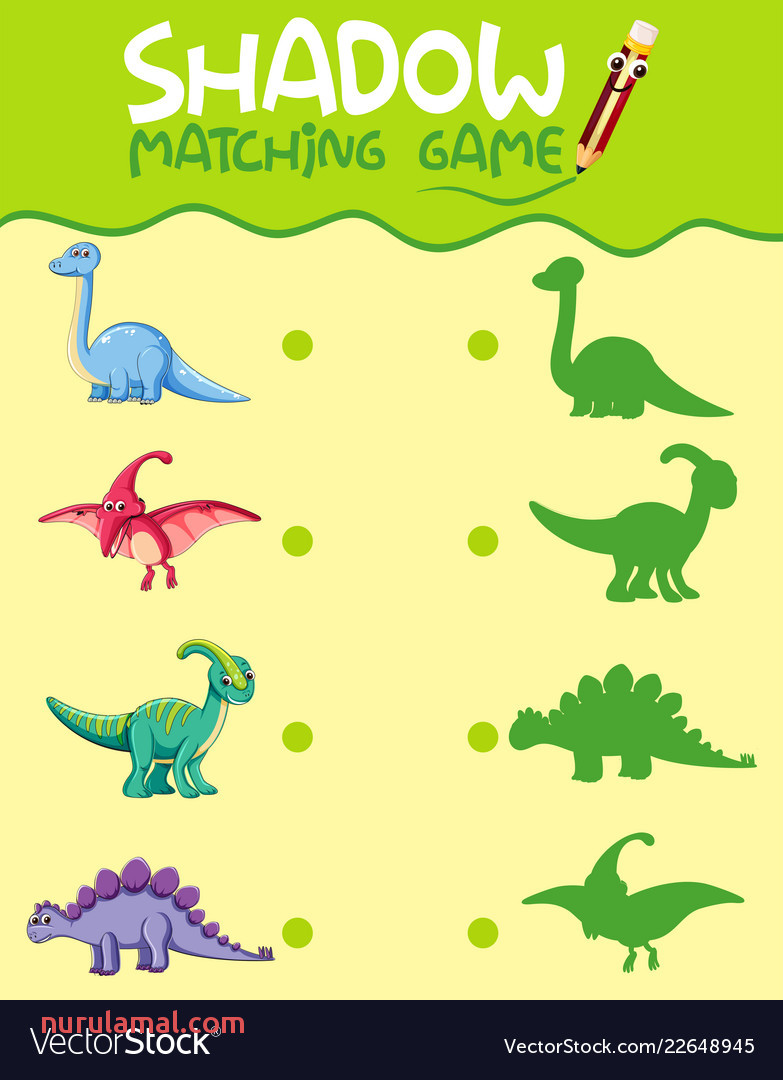 Matching Dinosaur Shadow Worksheet Vector Image