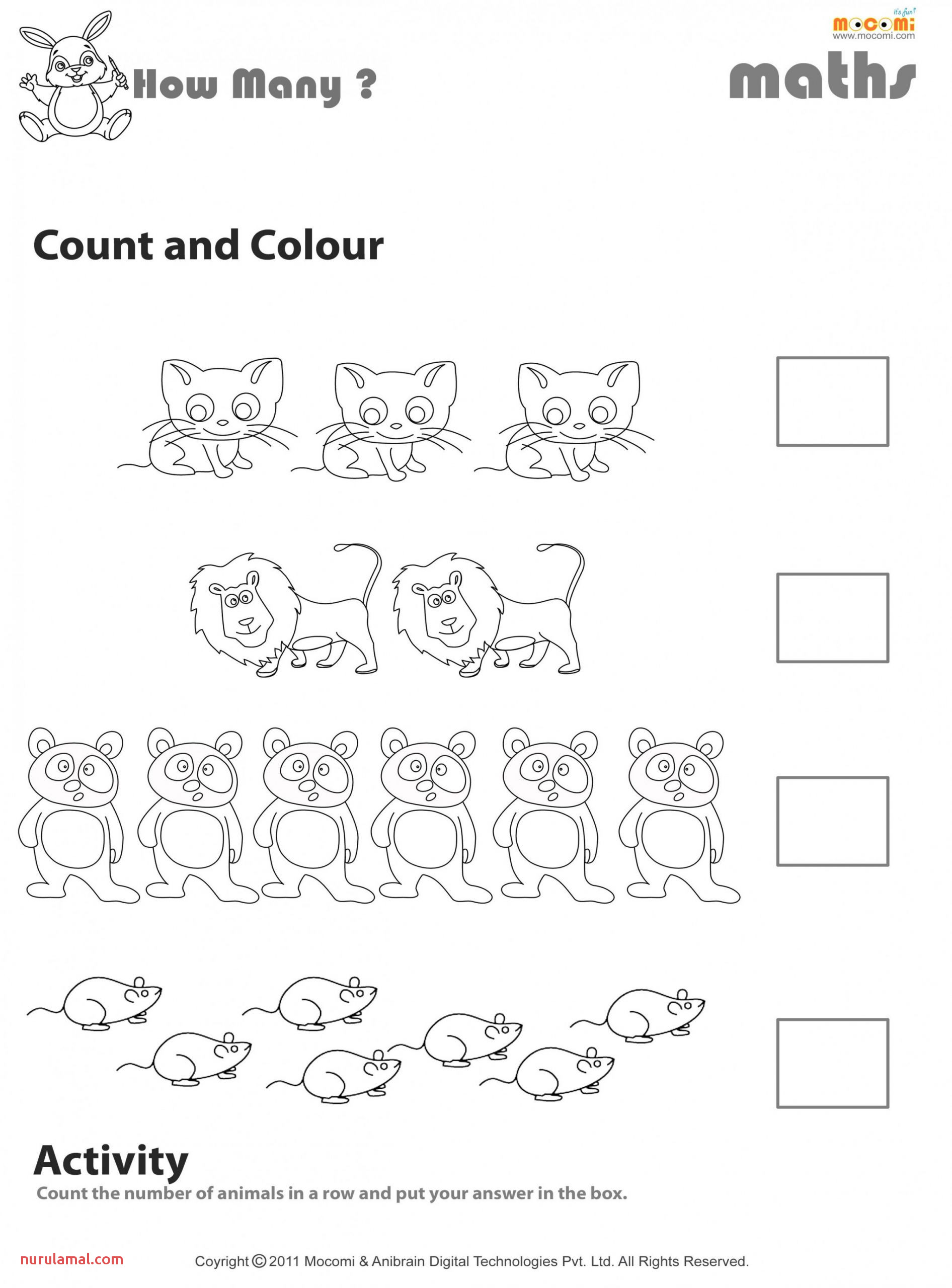 Math Coloring Worksheets Count and Colour Worksheet Mo I for