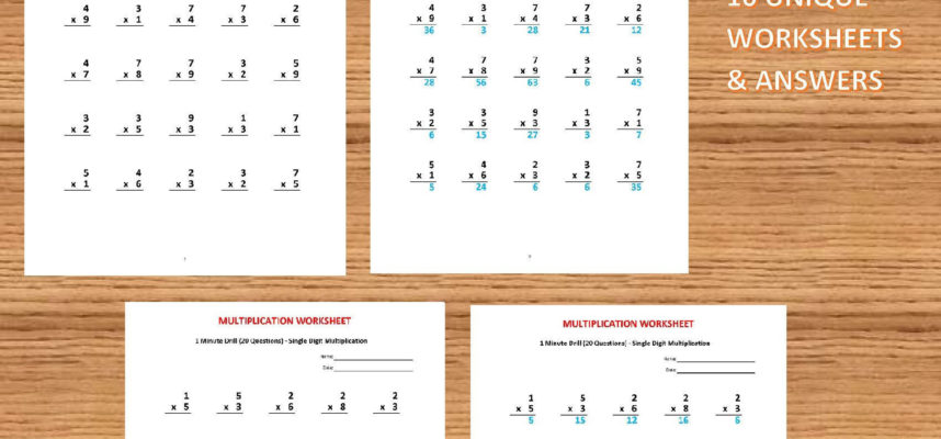 Math Drills Worksheet with Answers