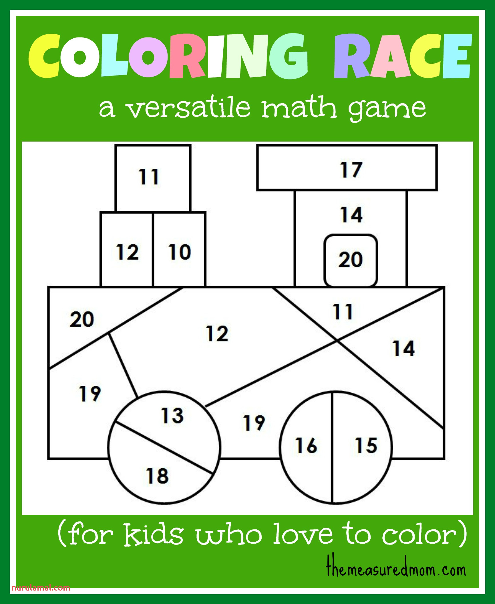 Math Game for Kids Coloring Race Bines Math and Coloring