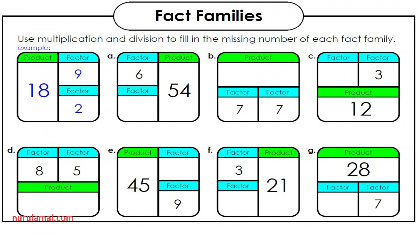 math worksheets fact families 2nd grade number family 1400x788