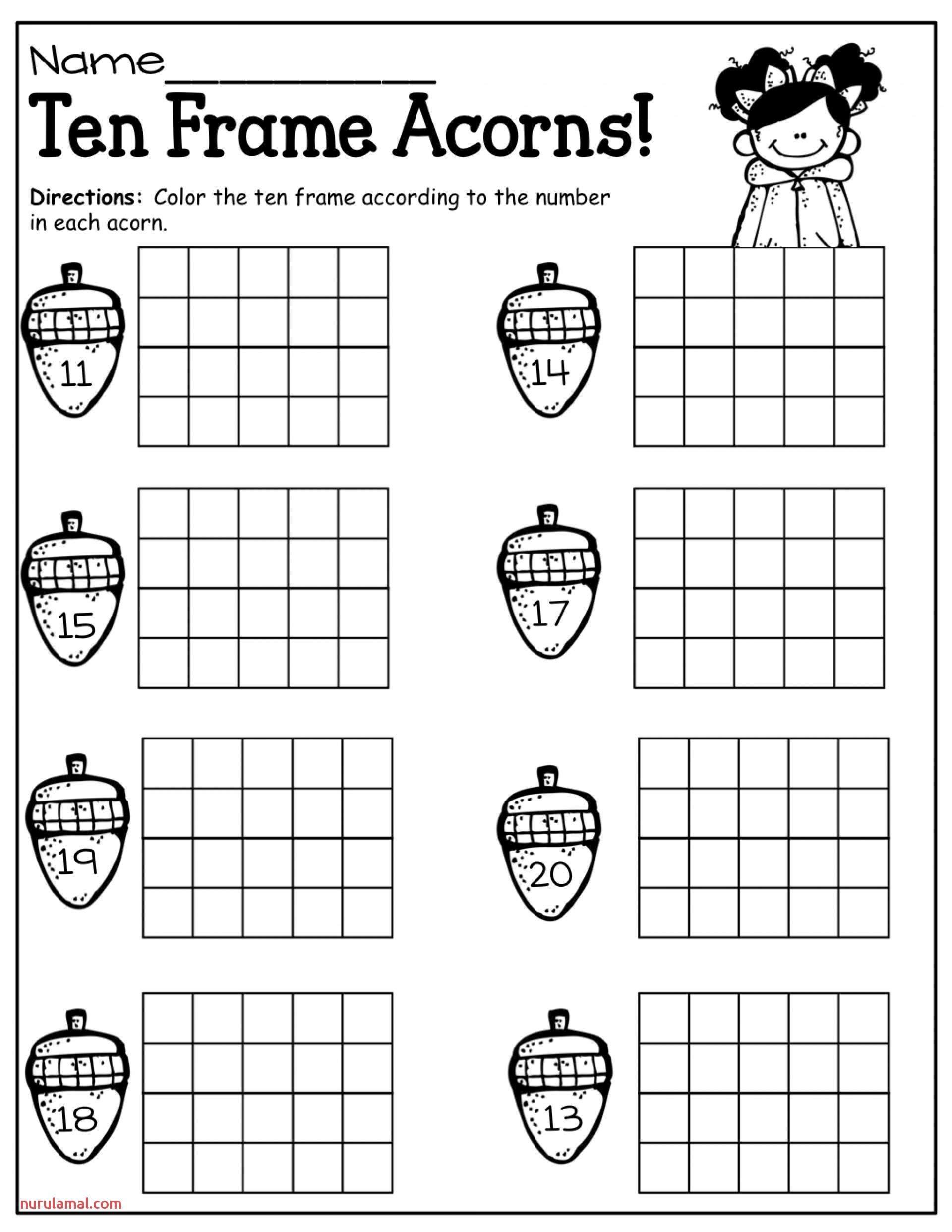 Math Worksheets Ten Frame Blank Double Printable Sheets
