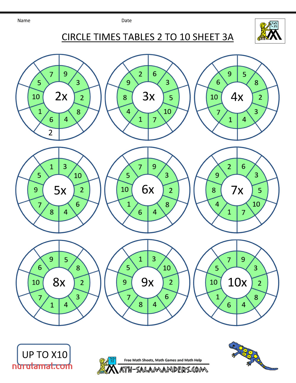 times tables worksheets printable circles 2 to 10 3a