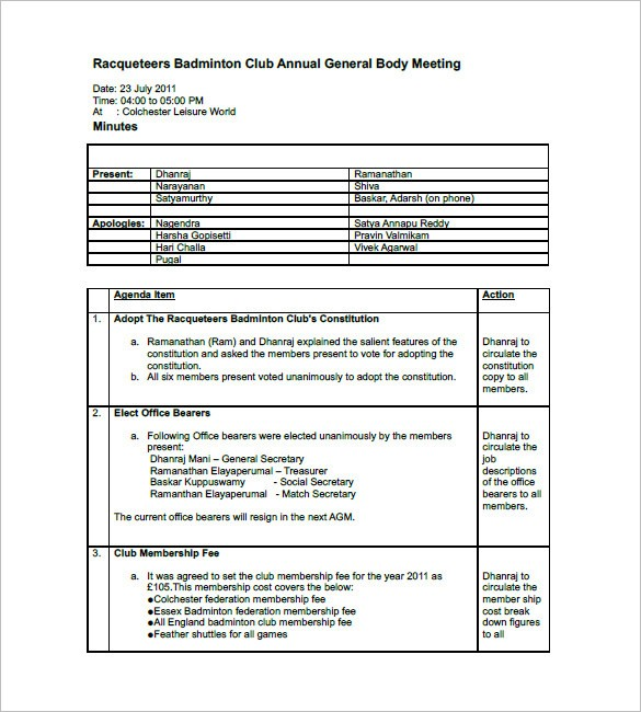 11+ Meeting Minutes Template