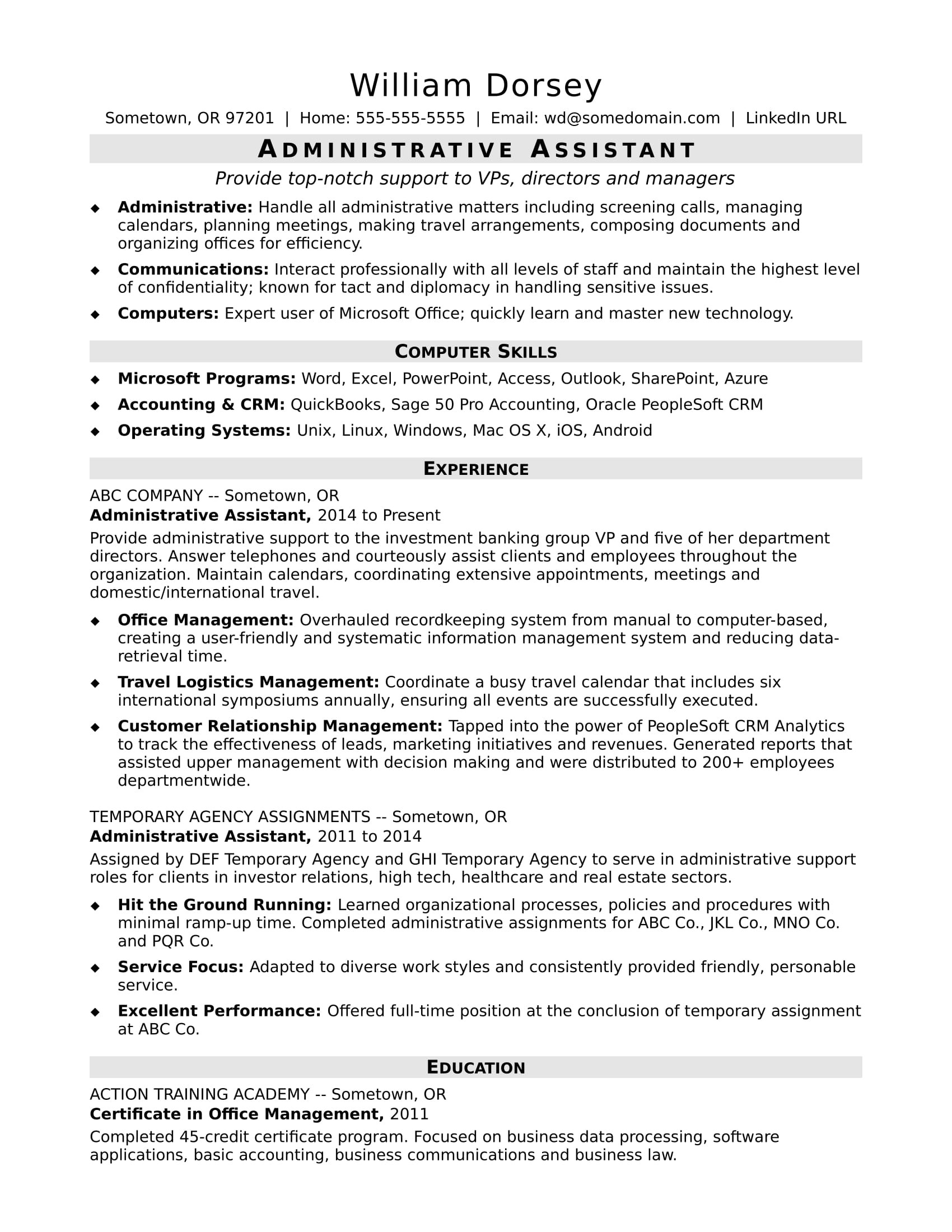 Midlevel Administrative Assistant Resume Sample Monster.com