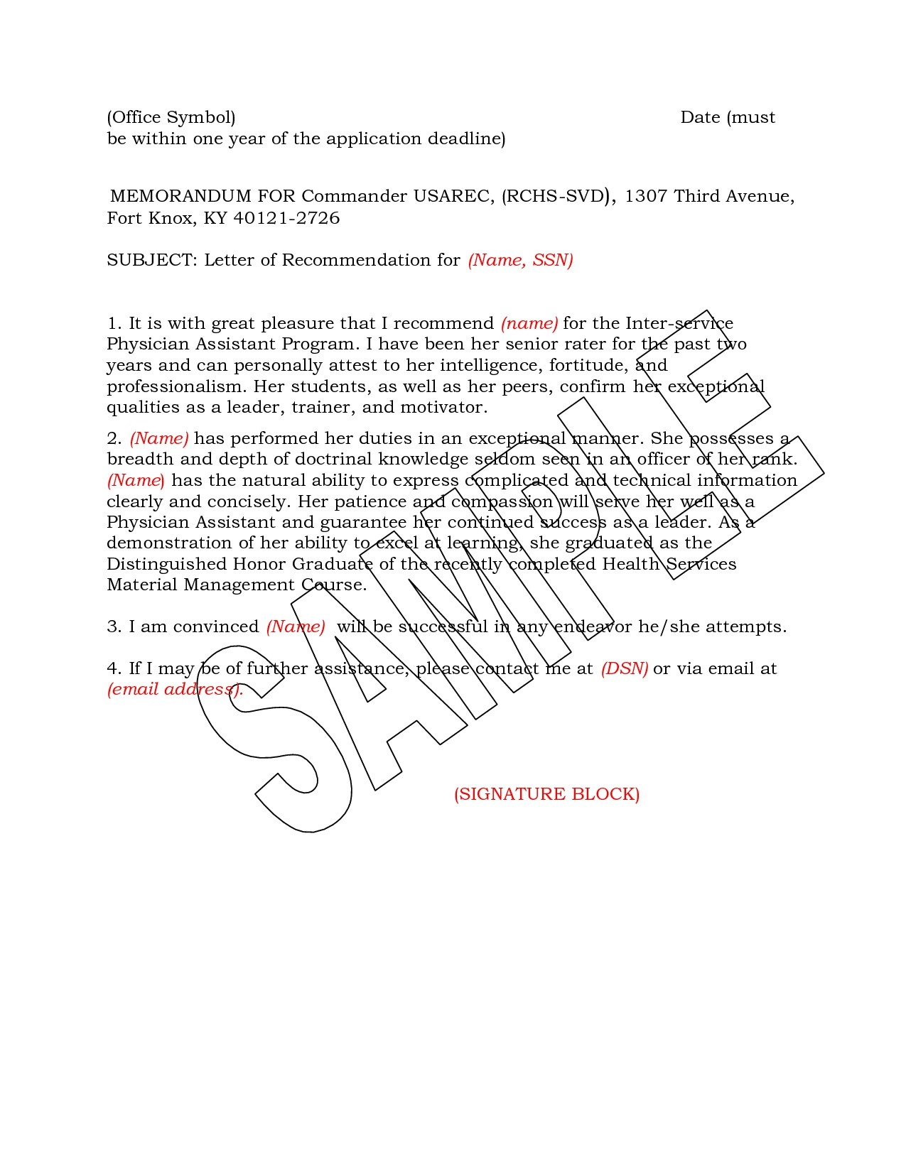 Military Letter Of Recommendation Template