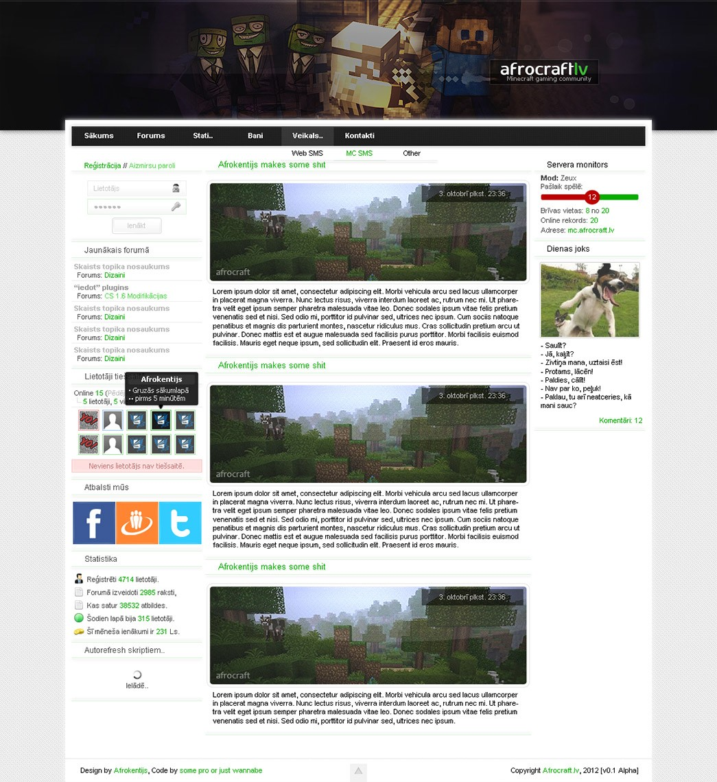 Minecraft Web Template By Ronchh On Deviantart