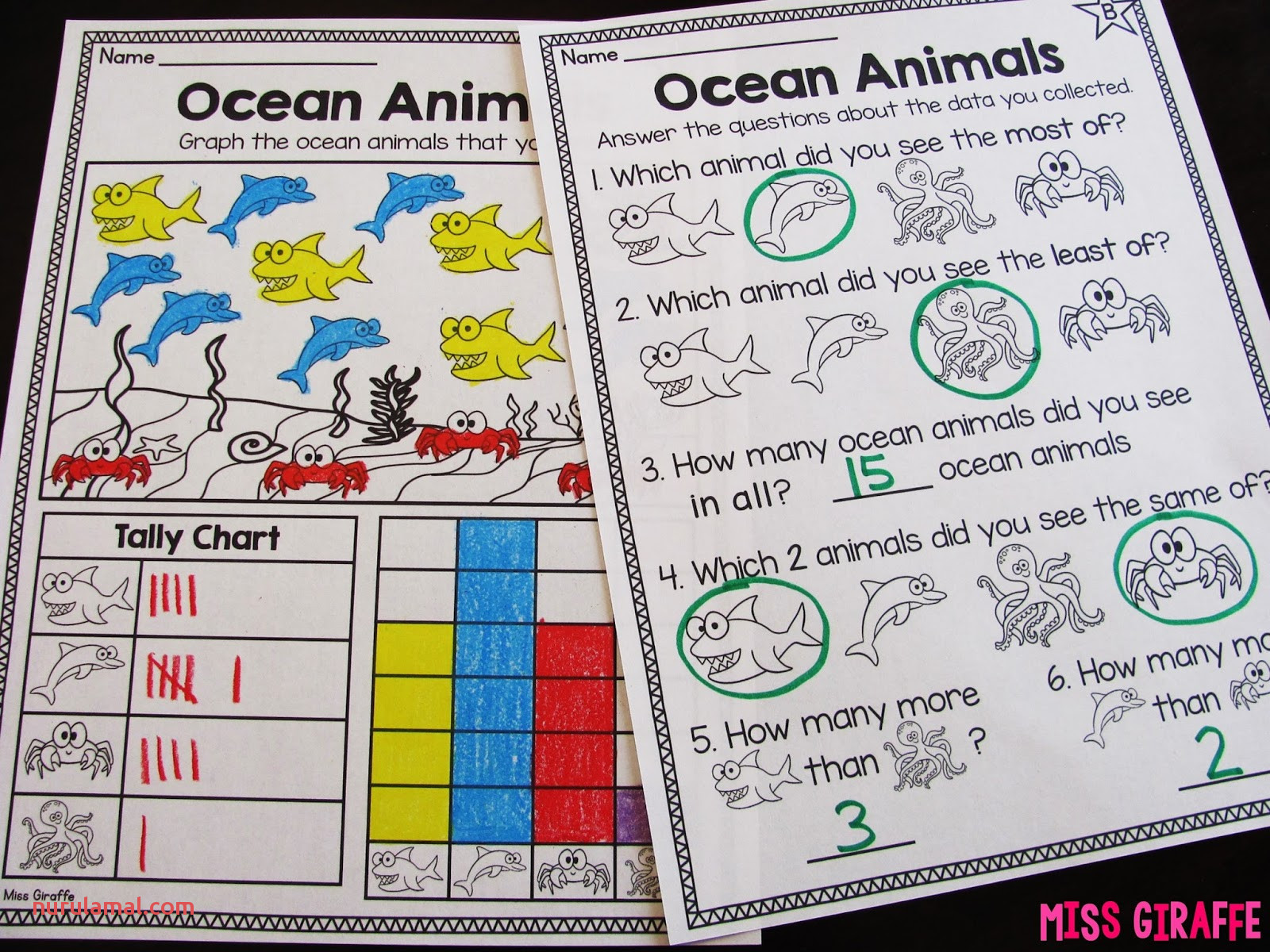 Ocean Bar Graphs Worksheet Level B h JPG