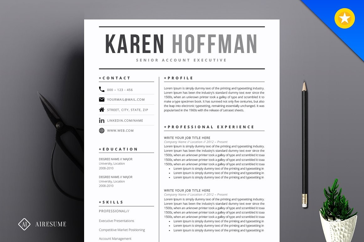 Modern Resume Template Resume Templates Creative Market