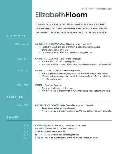 Modern Resume Templates Examples Free Download