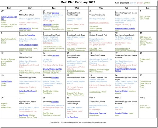 Monthly Meal Plan February Confessions Of A