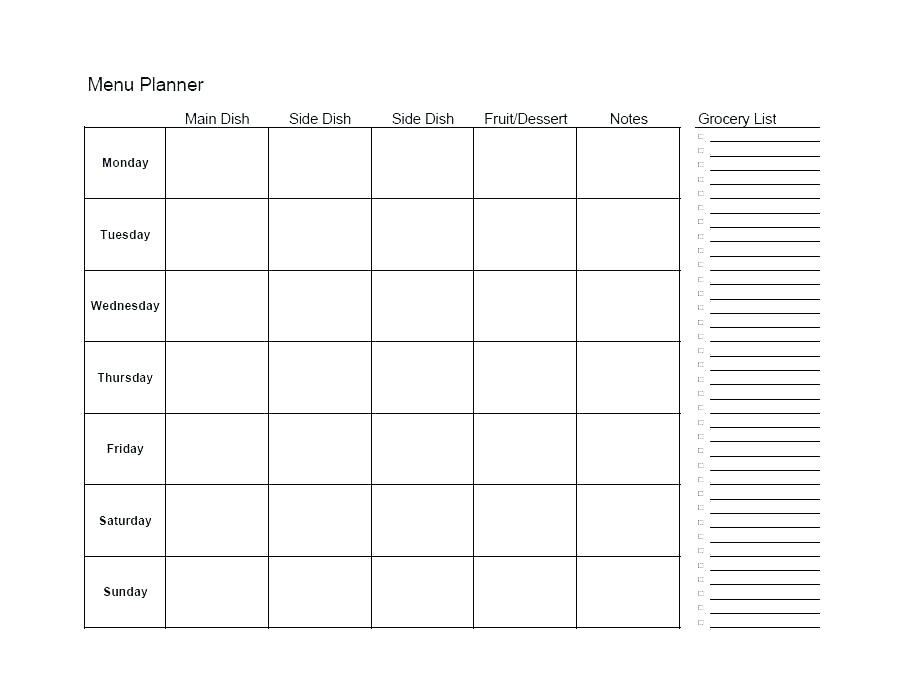 Monthly Meal Planner Template Excel Meal Plan Template