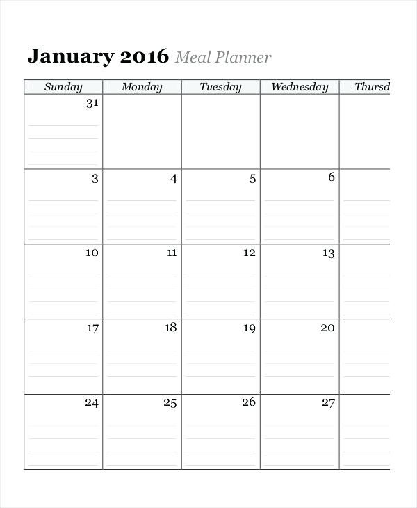 Monthly Meal Planner Template Excel Meal Planner Excel