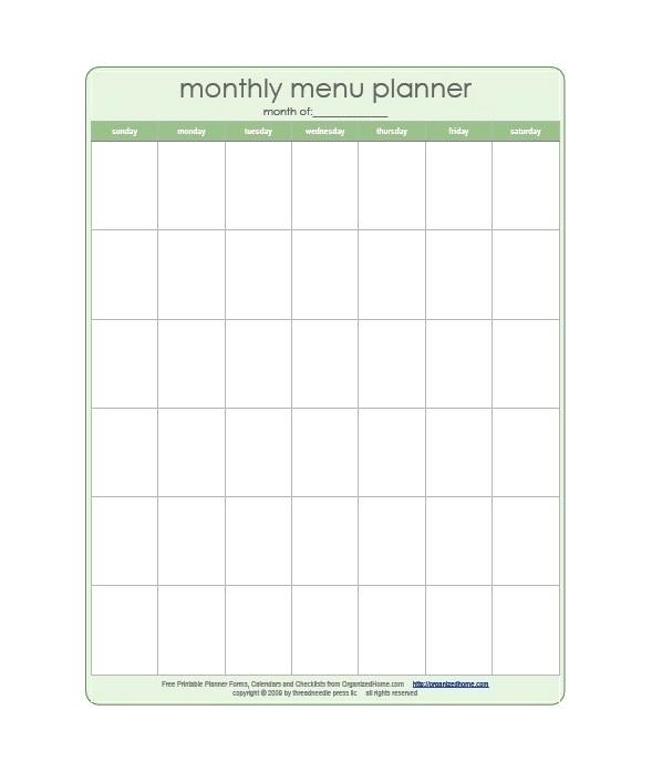 Monthly Meal Planner Template Excel Meal Planner Template