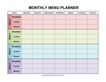 Monthly Meal Planner Template Excel Printable Planner