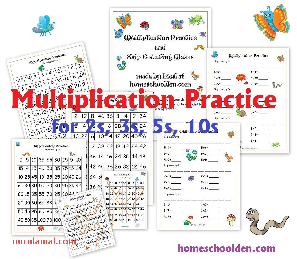 Multiplication Worksheets and Skip Counting Mazes for the 2s