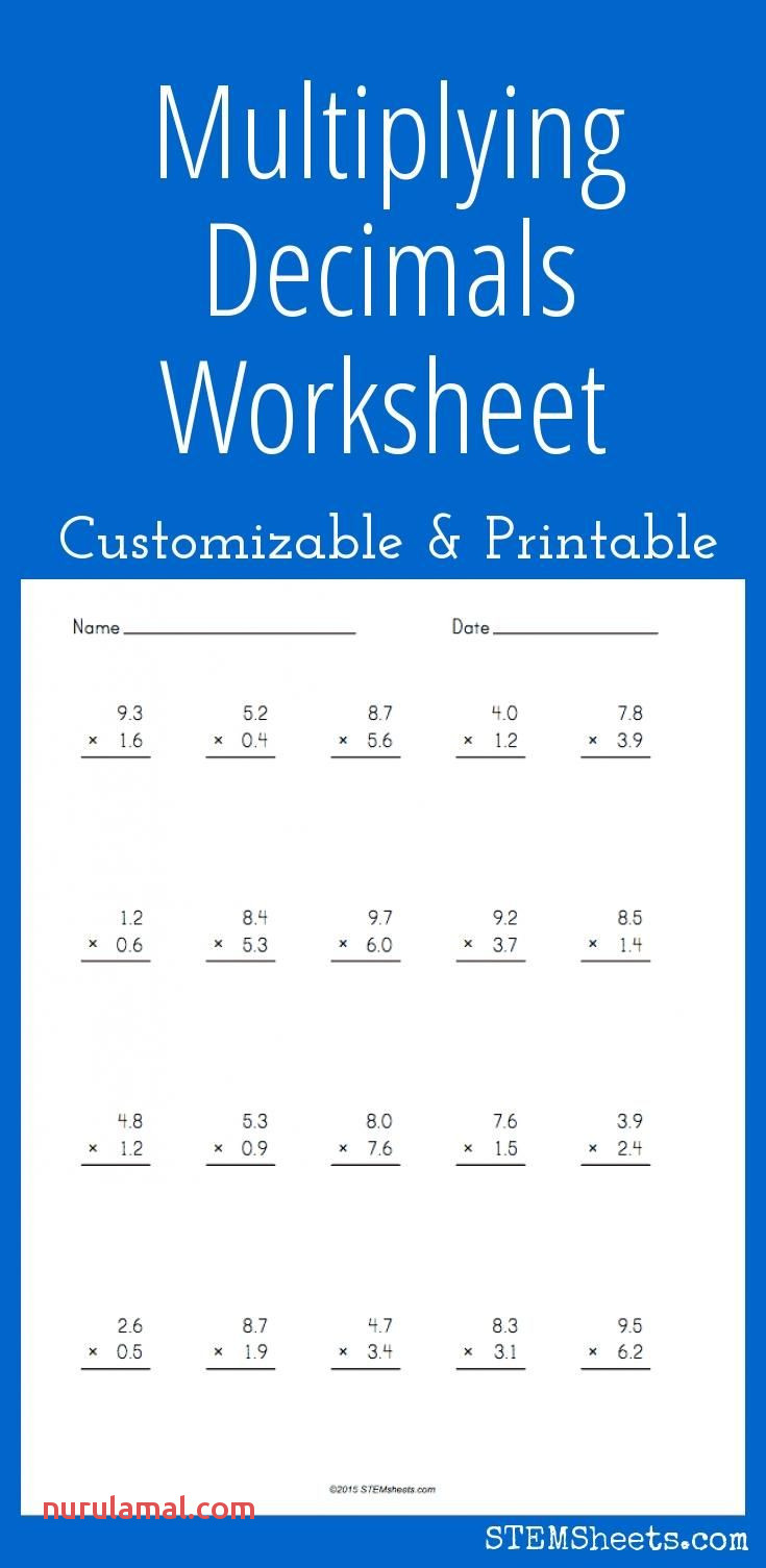 Multiplying Decimals Worksheet Customizable and Printable