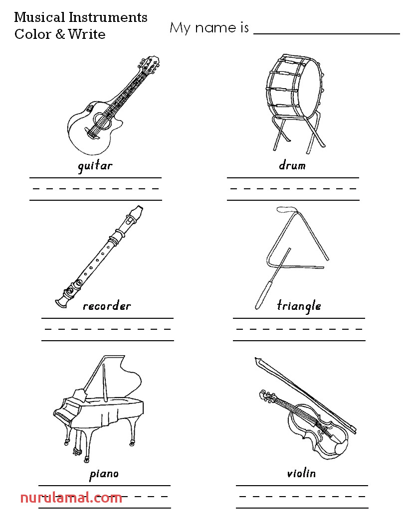 Musical Instruments Color Worksheet