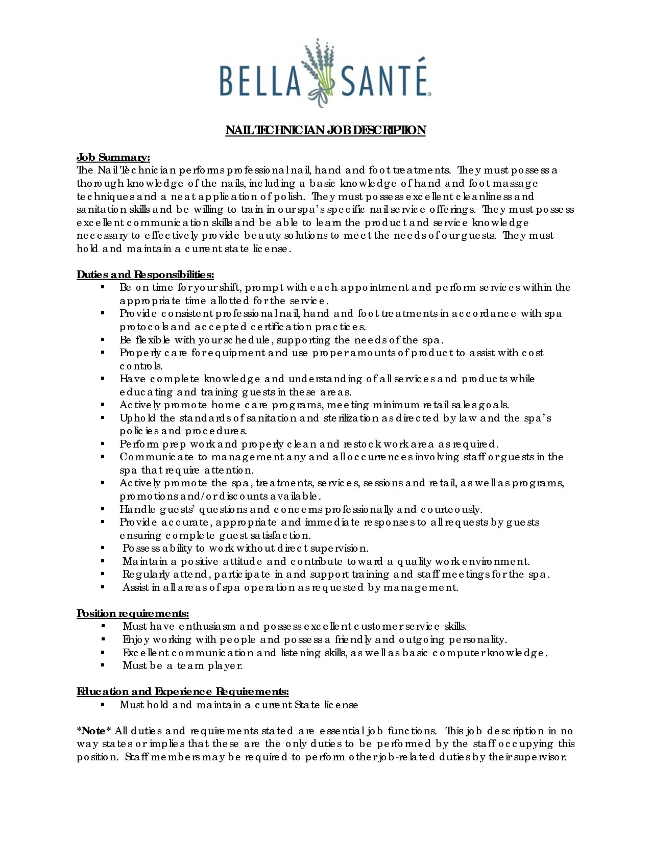 Nail Technician Role Responsibilities Nail Ftempo