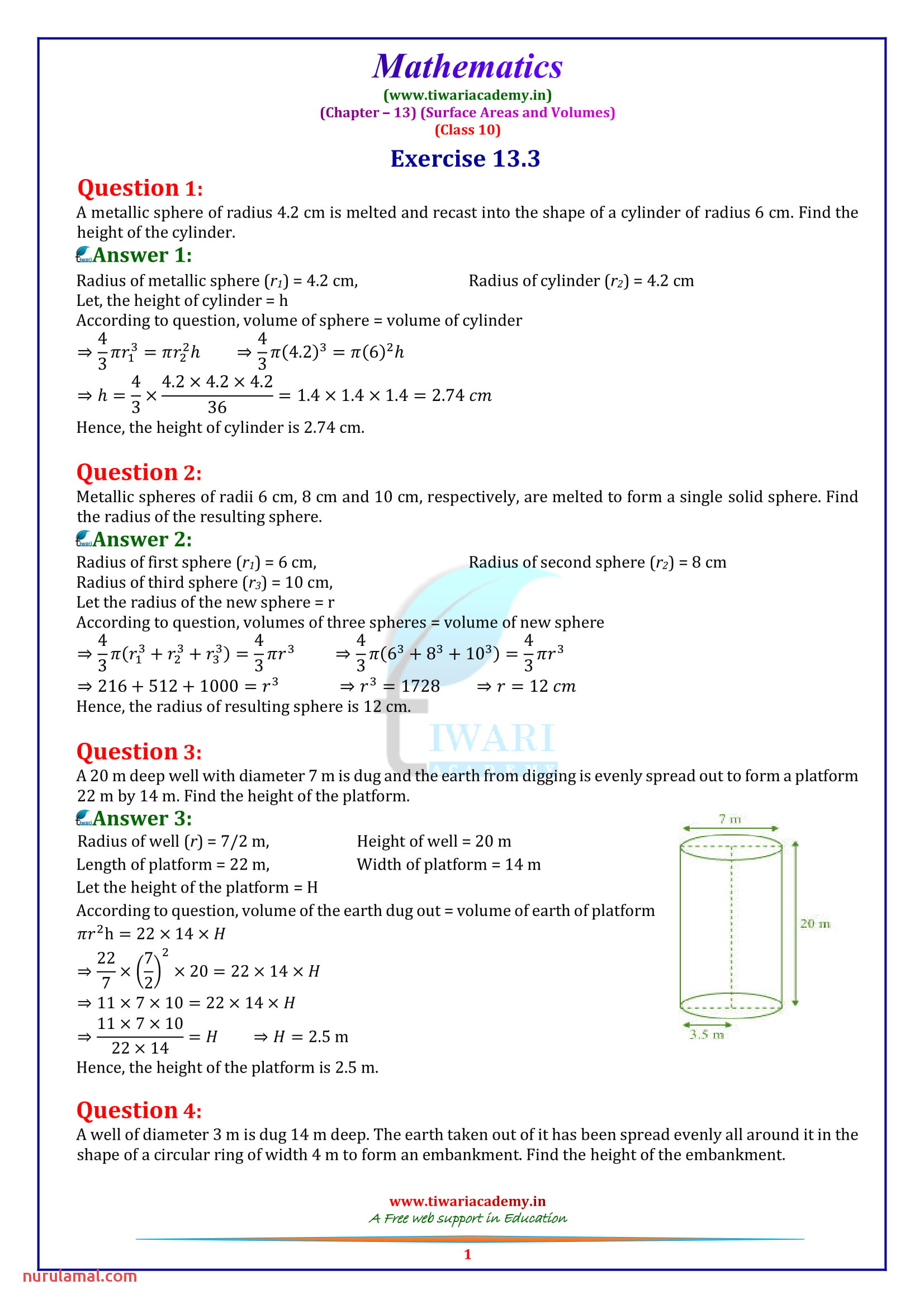 Ncert solutions for Class 10 Maths Chapter 13 Exercise 13 3