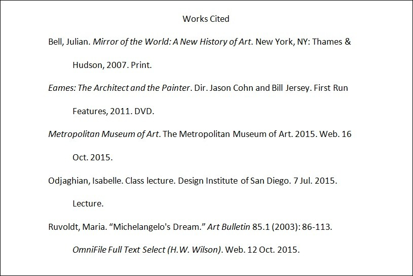New Mla Format Works Cited. Mla Work Cited Page Example
