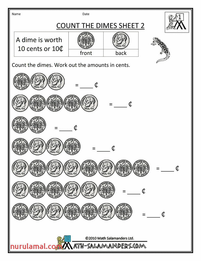 Nickel Worksheets for Kindergarten & Counting A Group Of