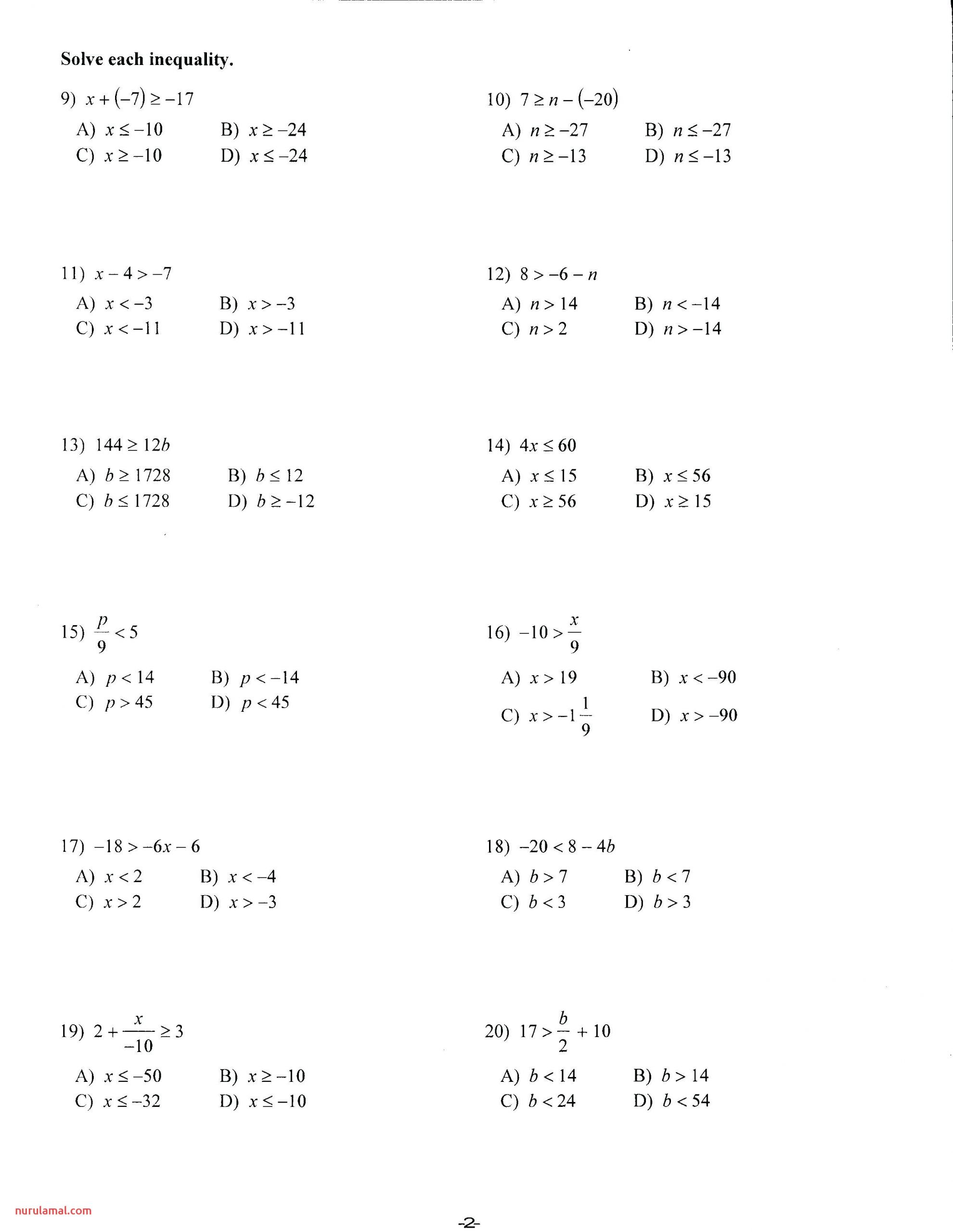 Ninth Grade Math Worksheets Printable 9th Grammar Algebra