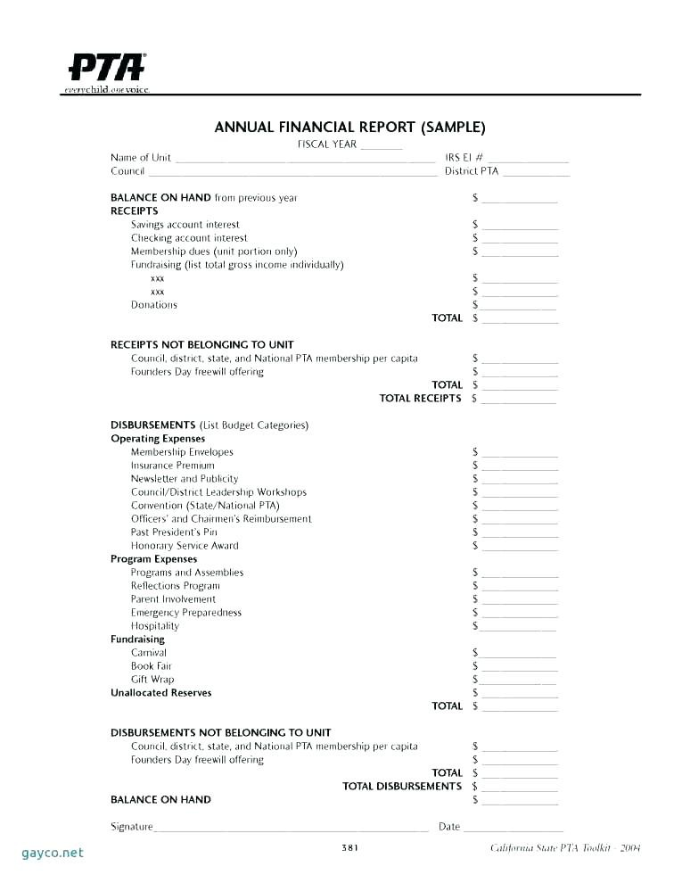 Non Profit Monthly Financial Report Template Treasurer