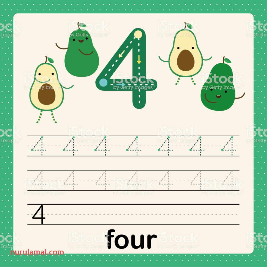 Number 4 Card for Kids Learning to Count and to Write