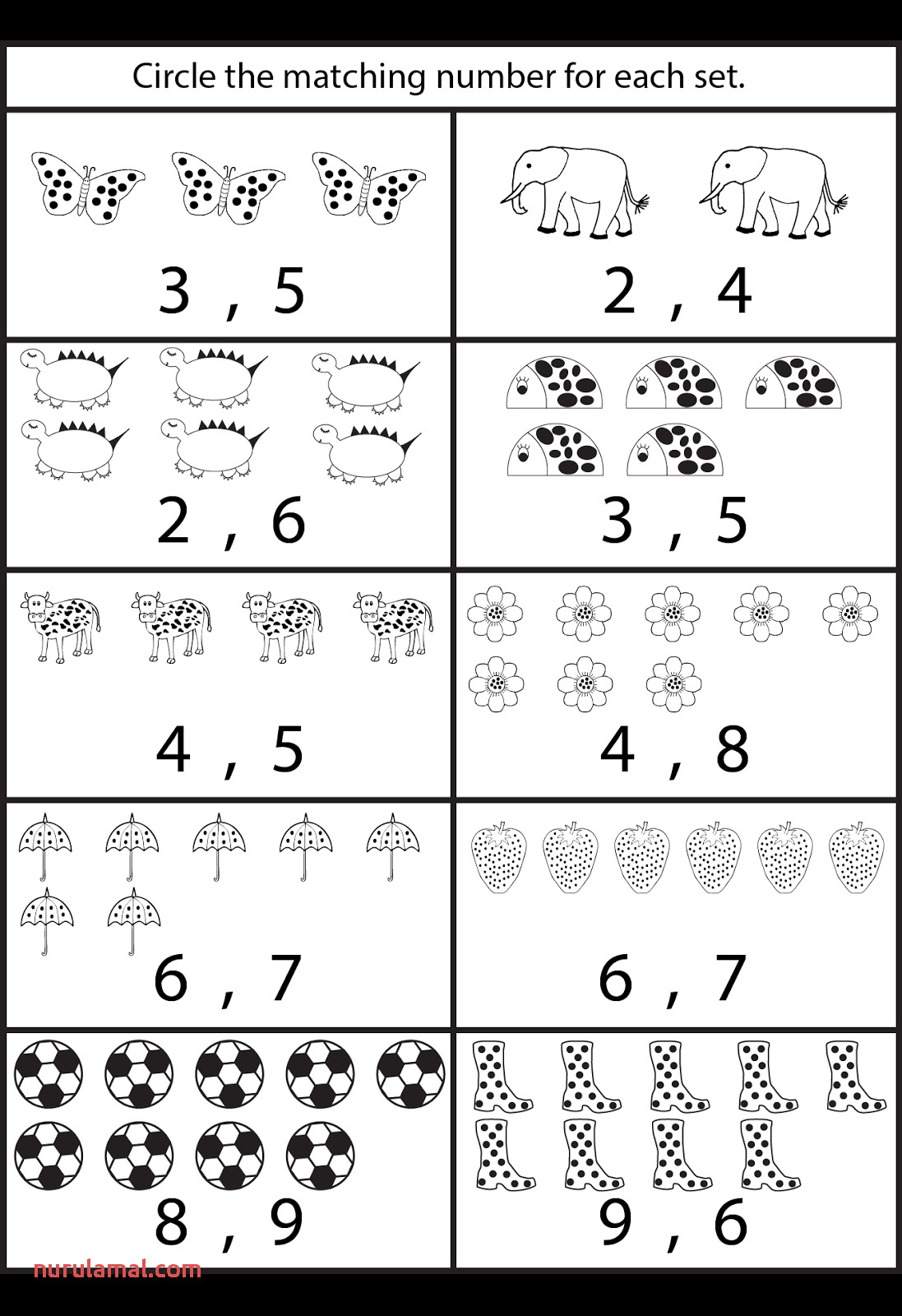 Number Worksheets for toddlers Counting Kindergarten