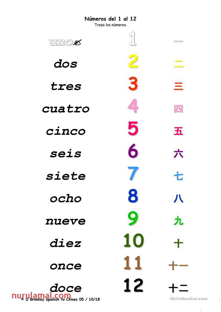 Numbers Spanish to Chinese English Esl Worksheets