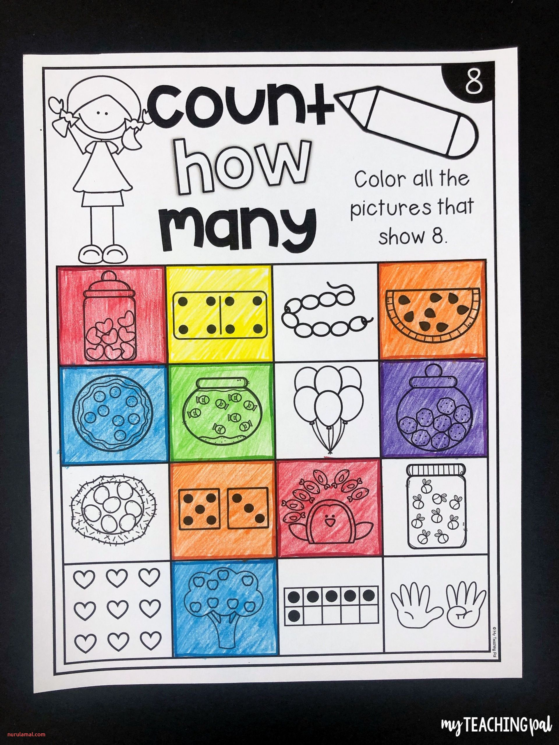 Numbers to 20 Worksheets Count and Color Numbers