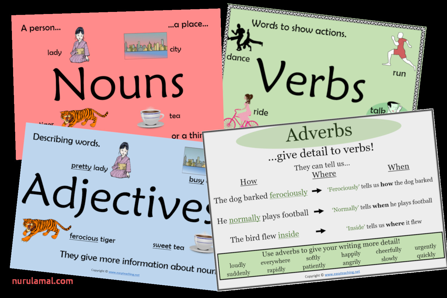 Parts Of Speech Nouns Verbs Adjectives Worksheets