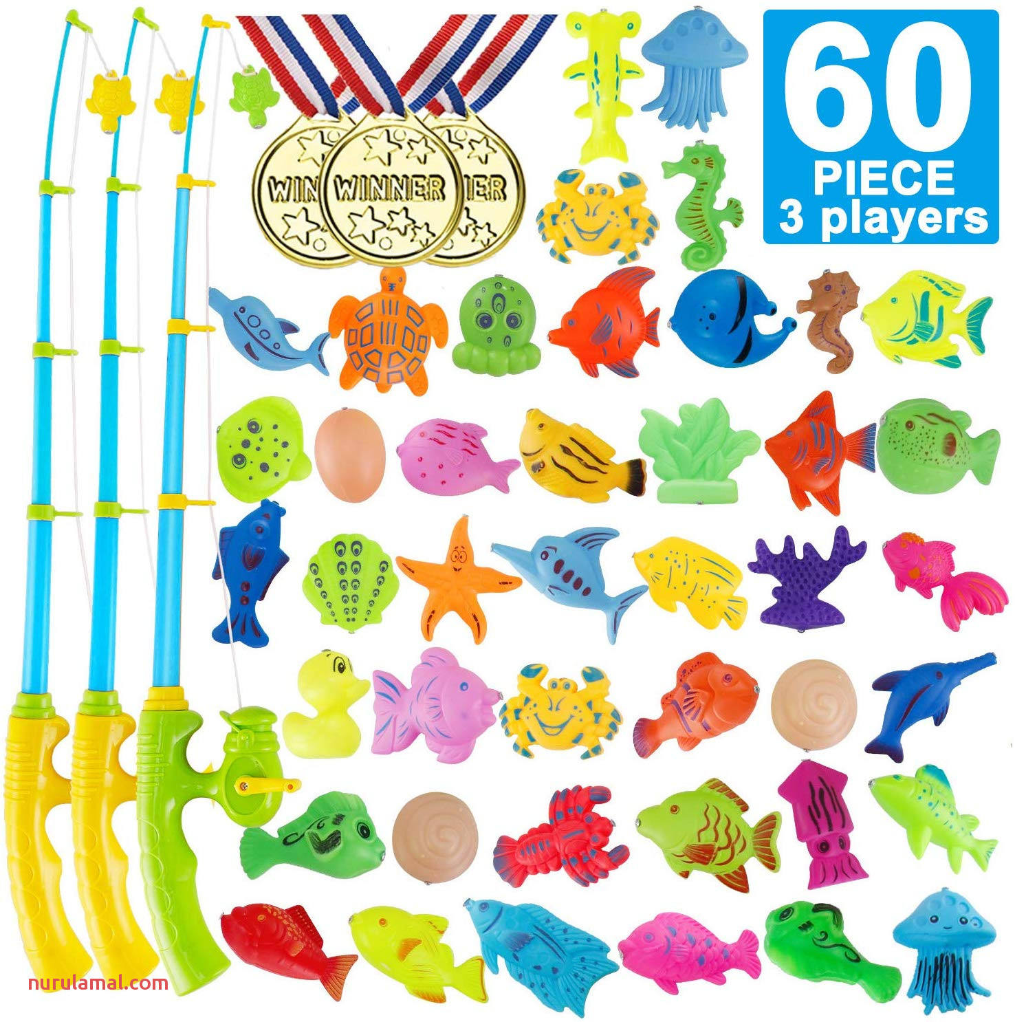 Party Fishing toys 60 Piece Magnetic Fishing toys Game 3 Players Magnetic Fishing Floating toy for Birthday Party Pool Outdoor Summer Party School