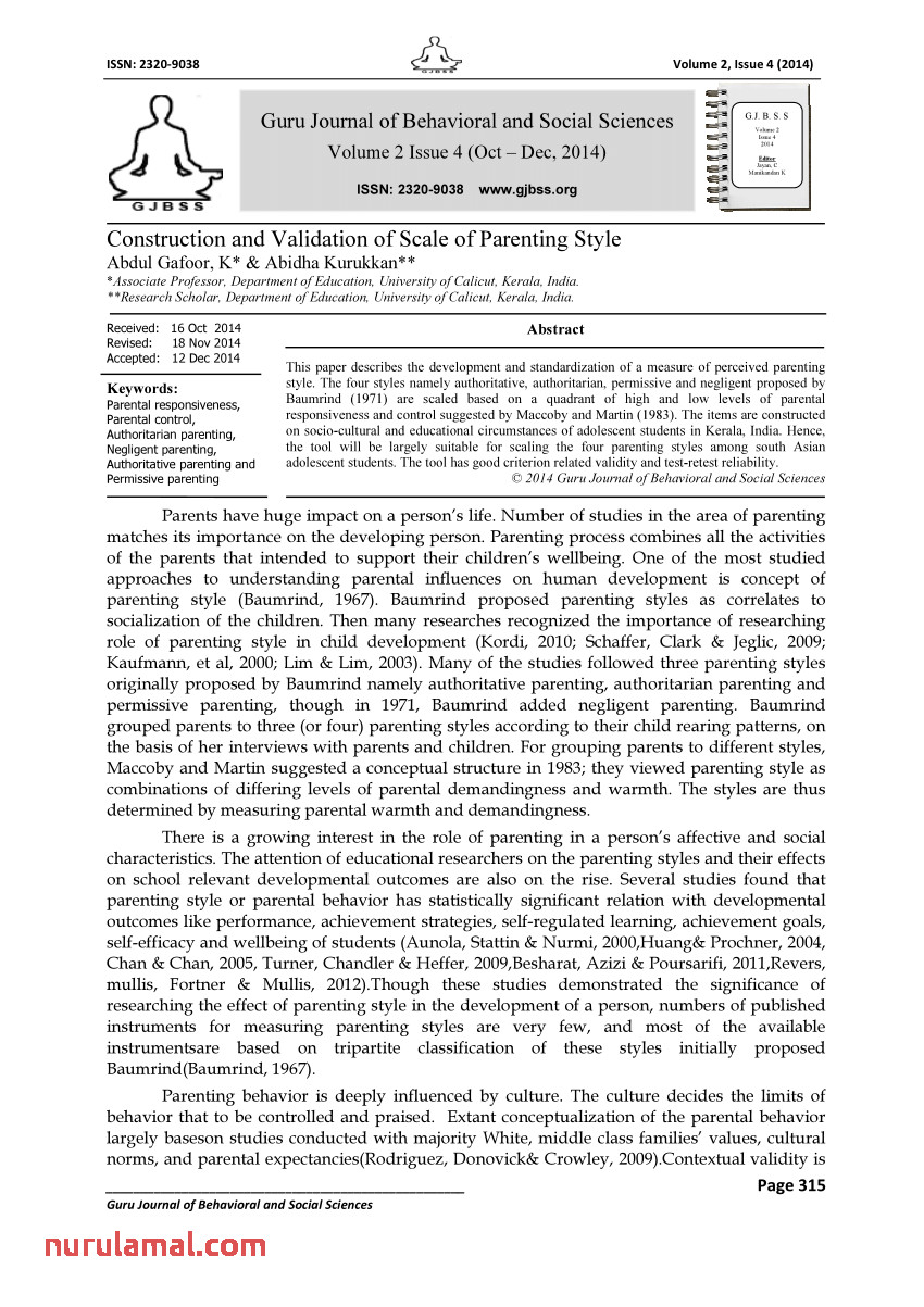 Pdf Construction and Validation Of Scale Of Parenting Style