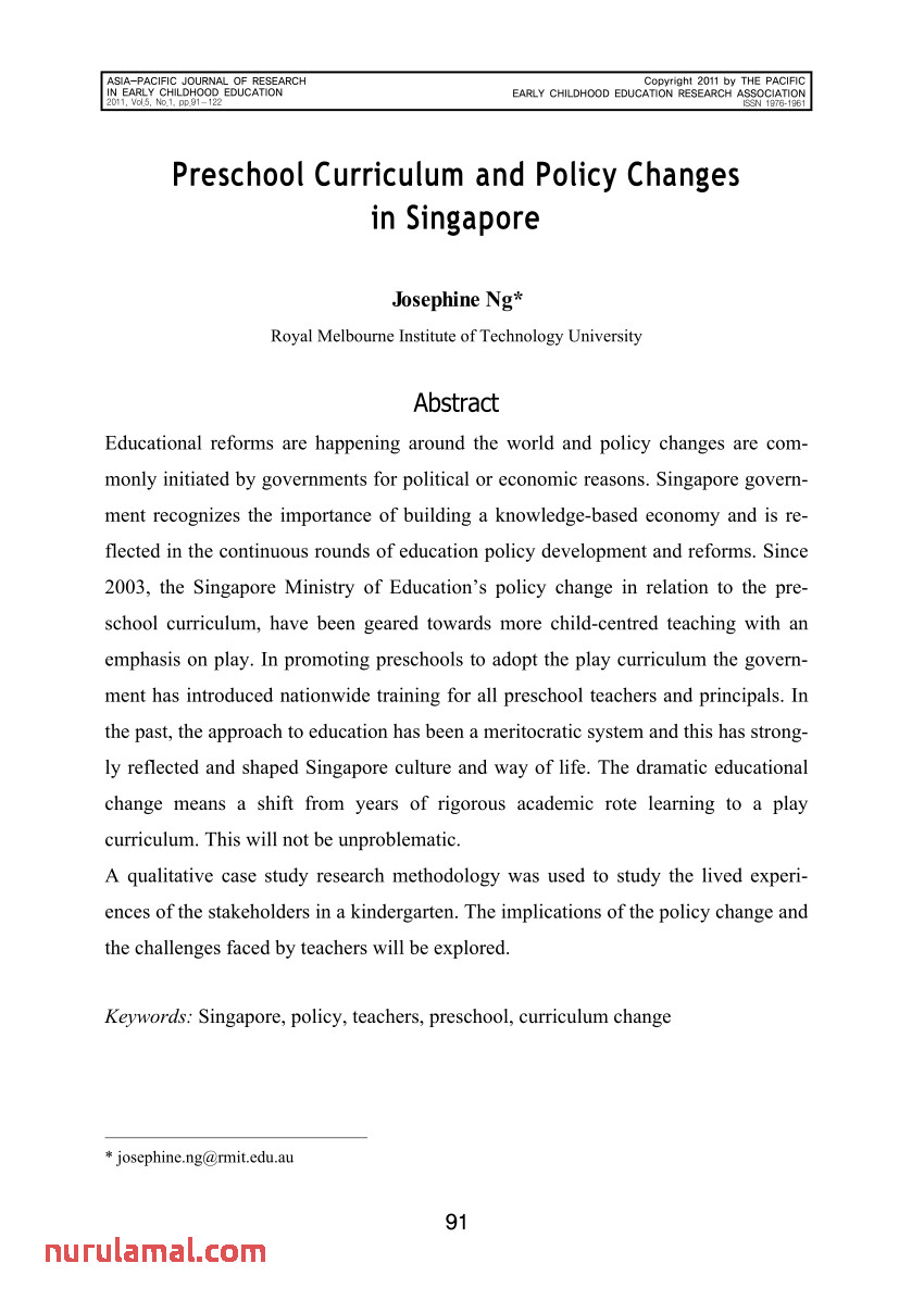 Pdf Preschool Curriculum and Policy Changes In Singapore