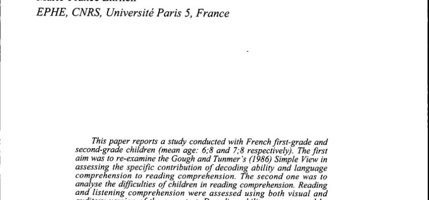 Pdf Reading Prehension In French 1st and 2nd Grade