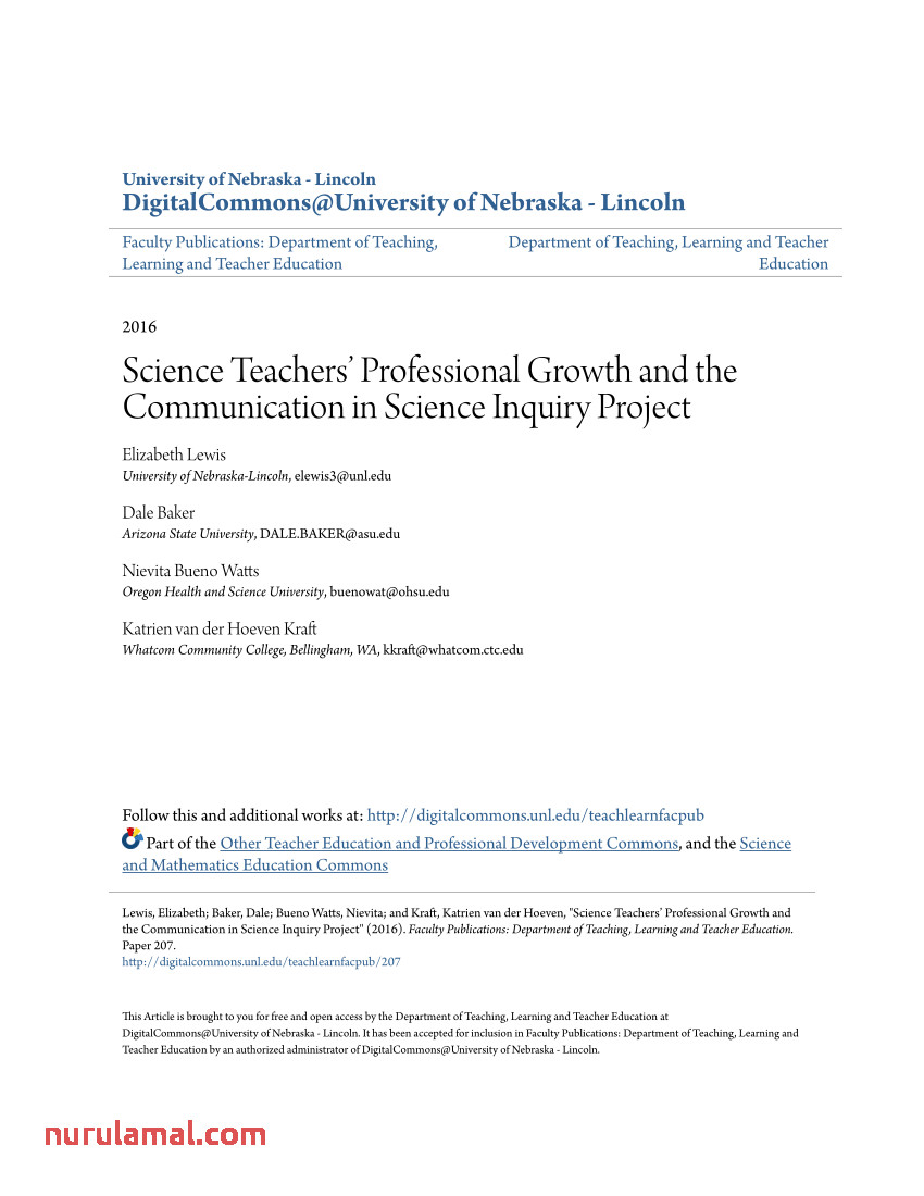 Pdf Science Teachers Professional Growth and the
