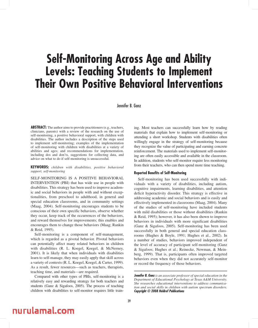 Pdf Self Monitoring Across Age and Ability Levels Teaching