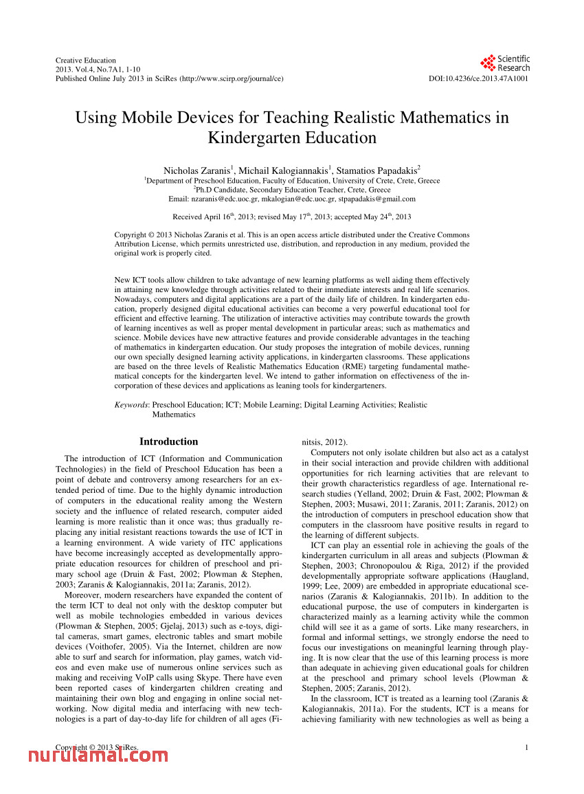 Pdf Using Mobile Devices for Teaching Realistic Mathematics
