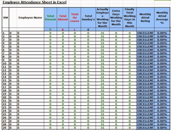 Perfect Example Of Employee Attendance Sheet Template In