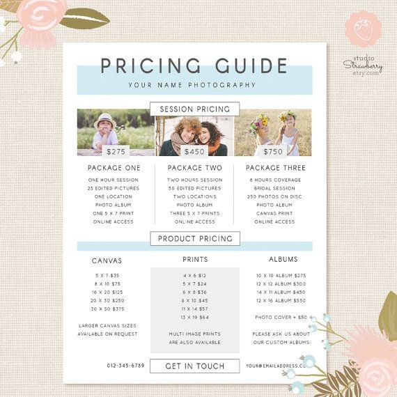 Photography Pricing Template Pricing Guide Template
